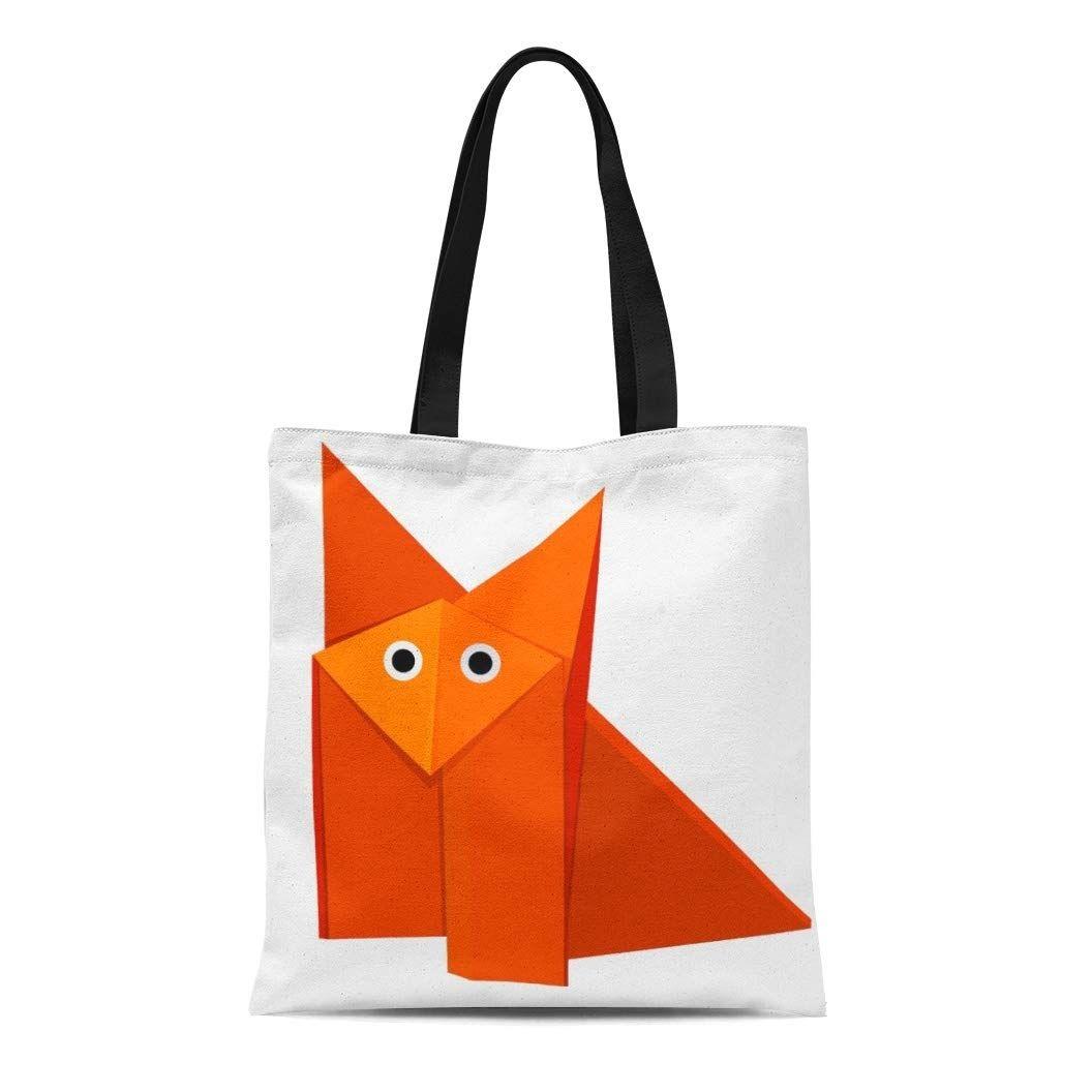 Photo of Canvas Tote Bag Cute Origami Fox Strange Cartoon Funny Geometric Reusable