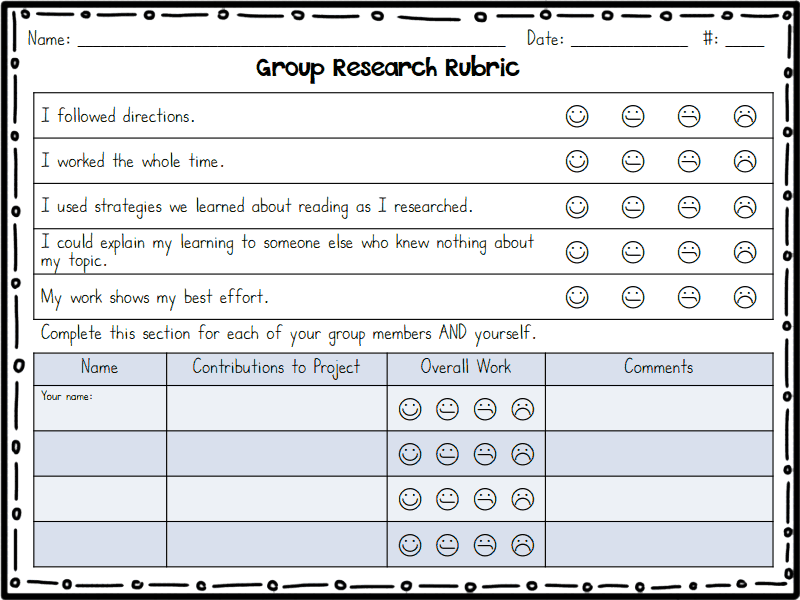 GroupResearchRubricPdf  Google Drive  First Grade Research