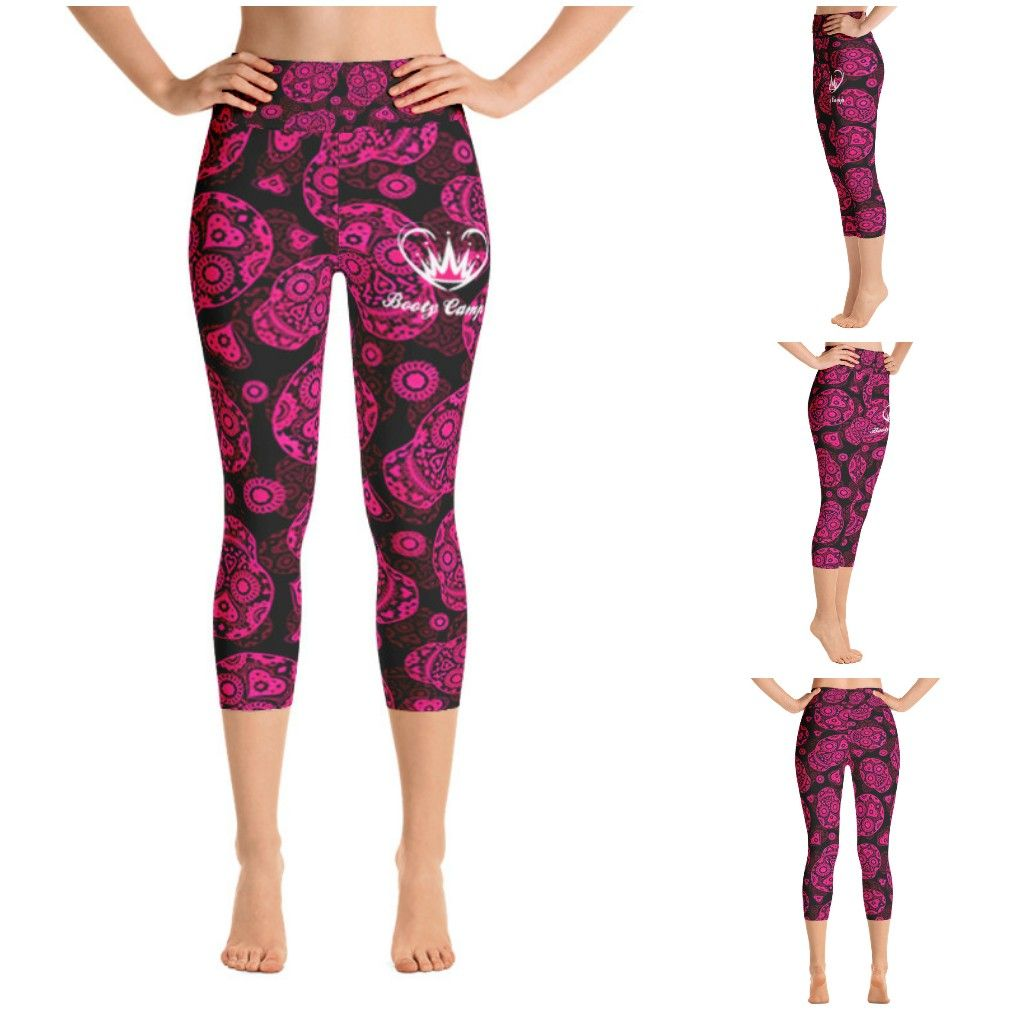 Pink sugar skulls yoga capri leggings. These will be available on the website in a few days. Matching sports bra available