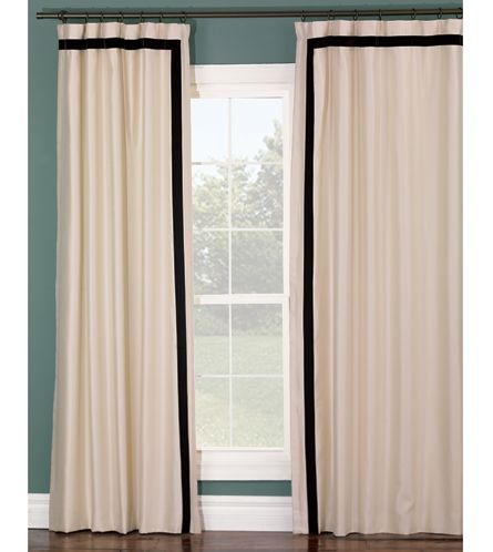 Ivory Curtain Panel With Black Stripe Border Curtains
