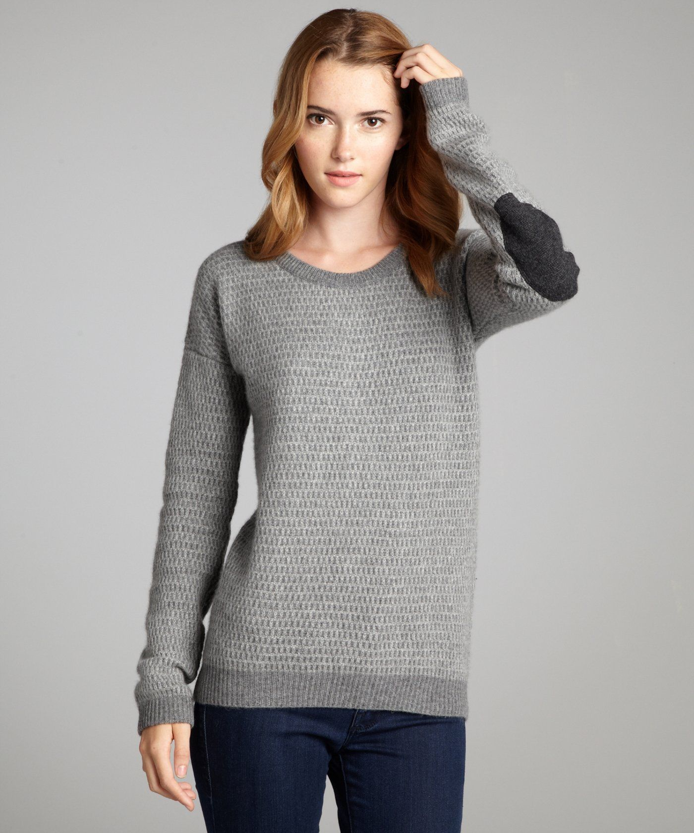 Wyatt heather and charcoal thermal knit elbow patch cashmere ...