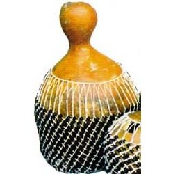 """The GOURD SHEKERE is a West African ceremonial shaker made in Nigeria. This unusual shaker has a """"netrattle"""", that when shaken, hits against the outside of the gourd, making a dry, gravelly sound!"""