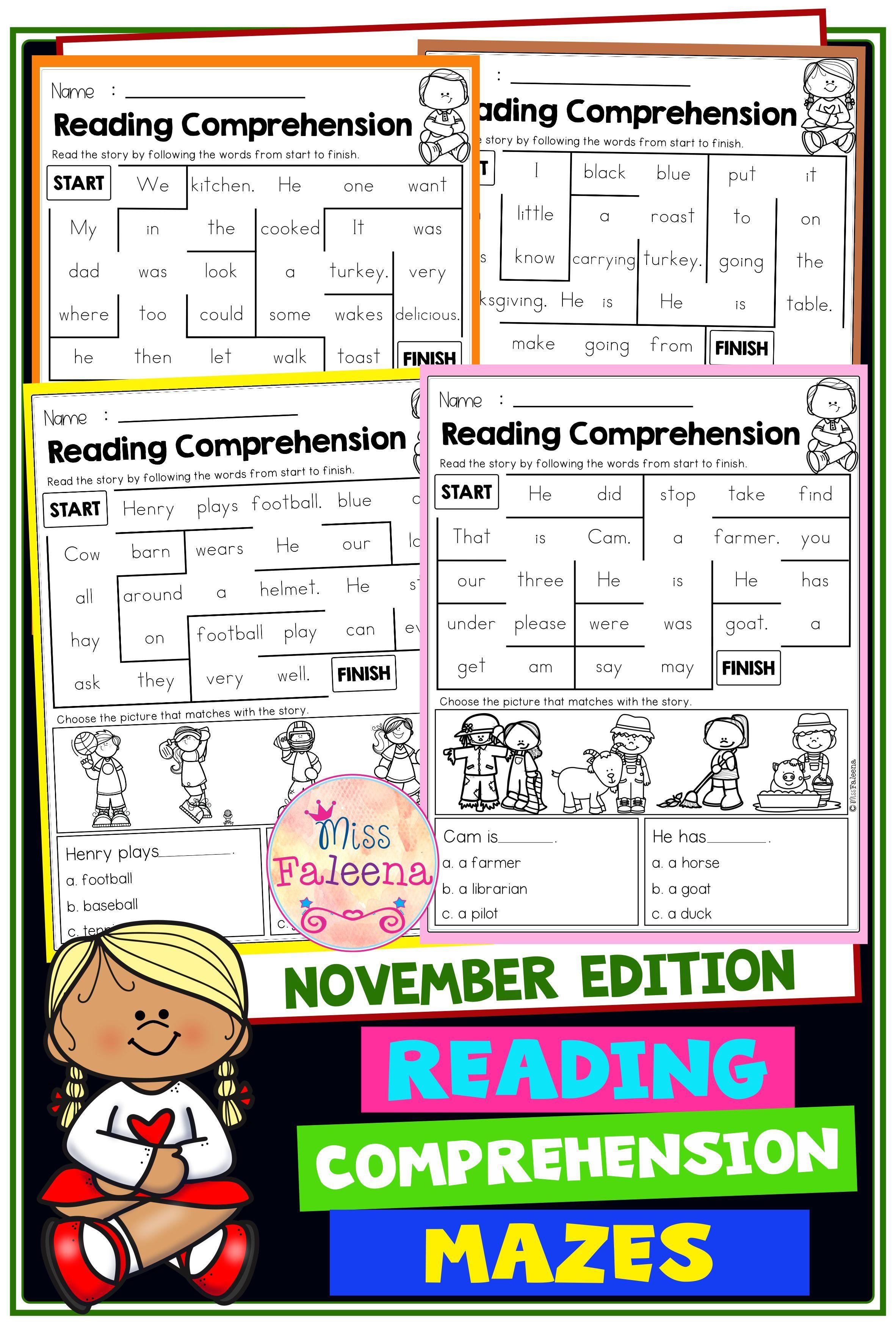 November Reading Comprehension Mazes [ 3544 x 2364 Pixel ]