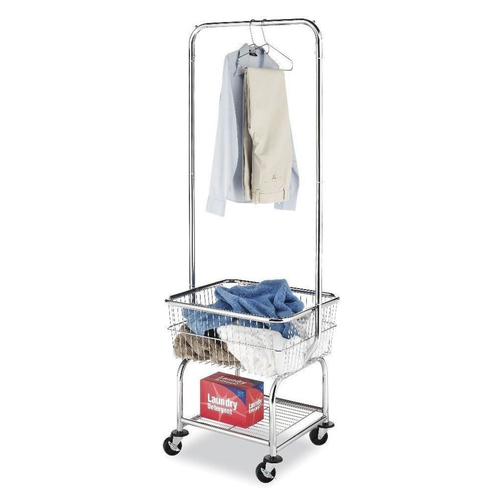 Laundry Butler Heavy Duty Utility Cart With Hanging Rods And