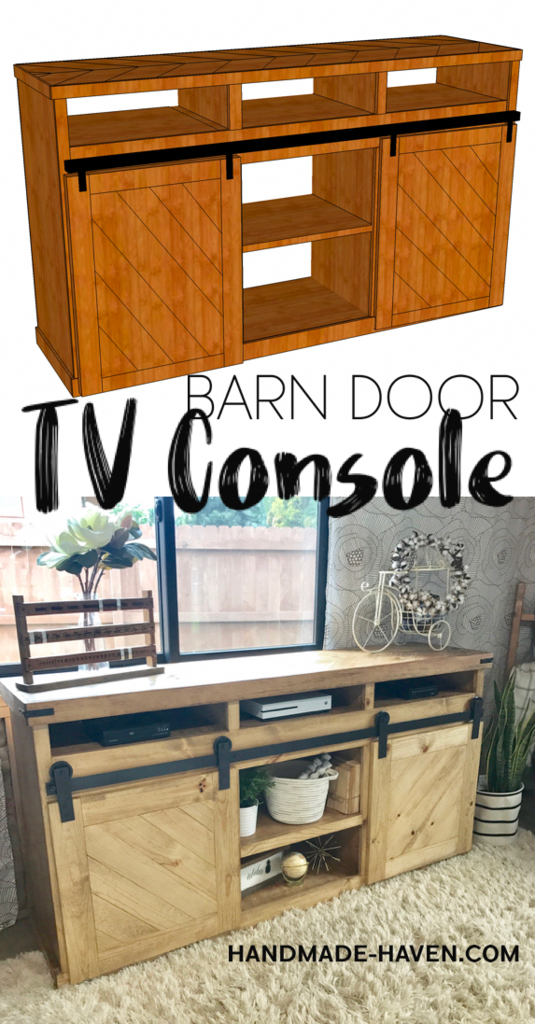 diy sliding barn door tv console for the home living room free rh pinterest com