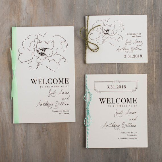 Script Wedding Program With Floral, Ribbon Bow, Baker
