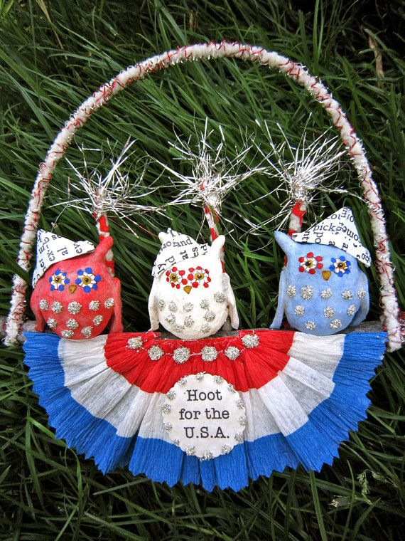Hoot 4 the USA    A spun cotton ornament by MariePattersonStudio