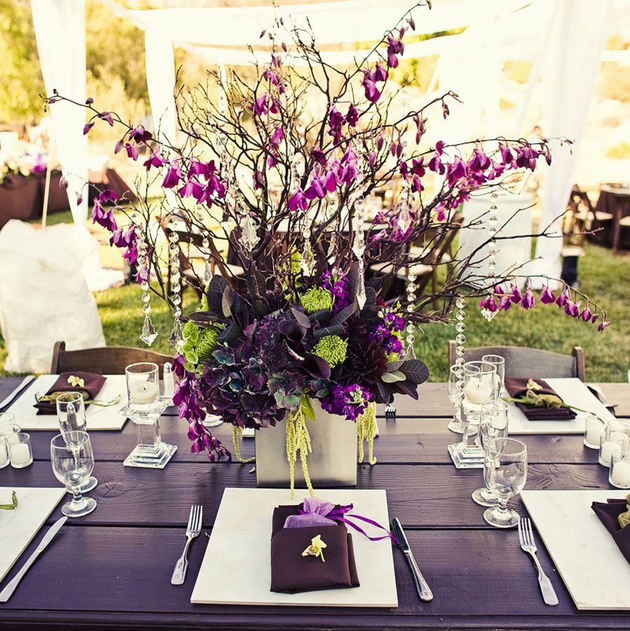 Centro de mesa para boda con flores secas color lila - Adornos flores secas ...