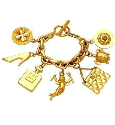 Vintage Chanel Bracelet CC Logo Big Icon Charms Coco