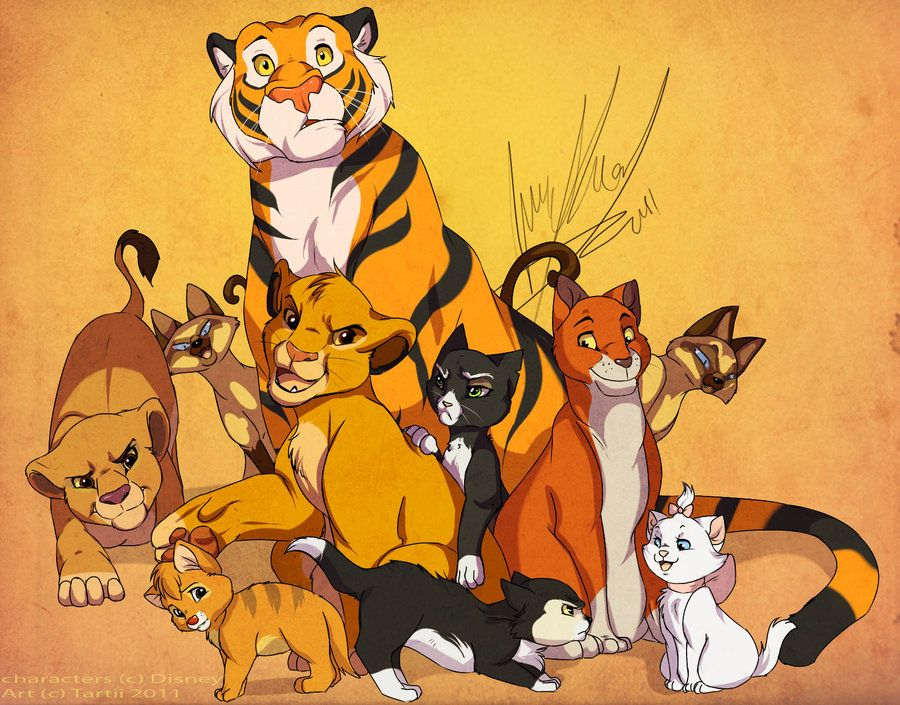 Disney Cats by *Tartii Fan Art / Digital Art / Drawings