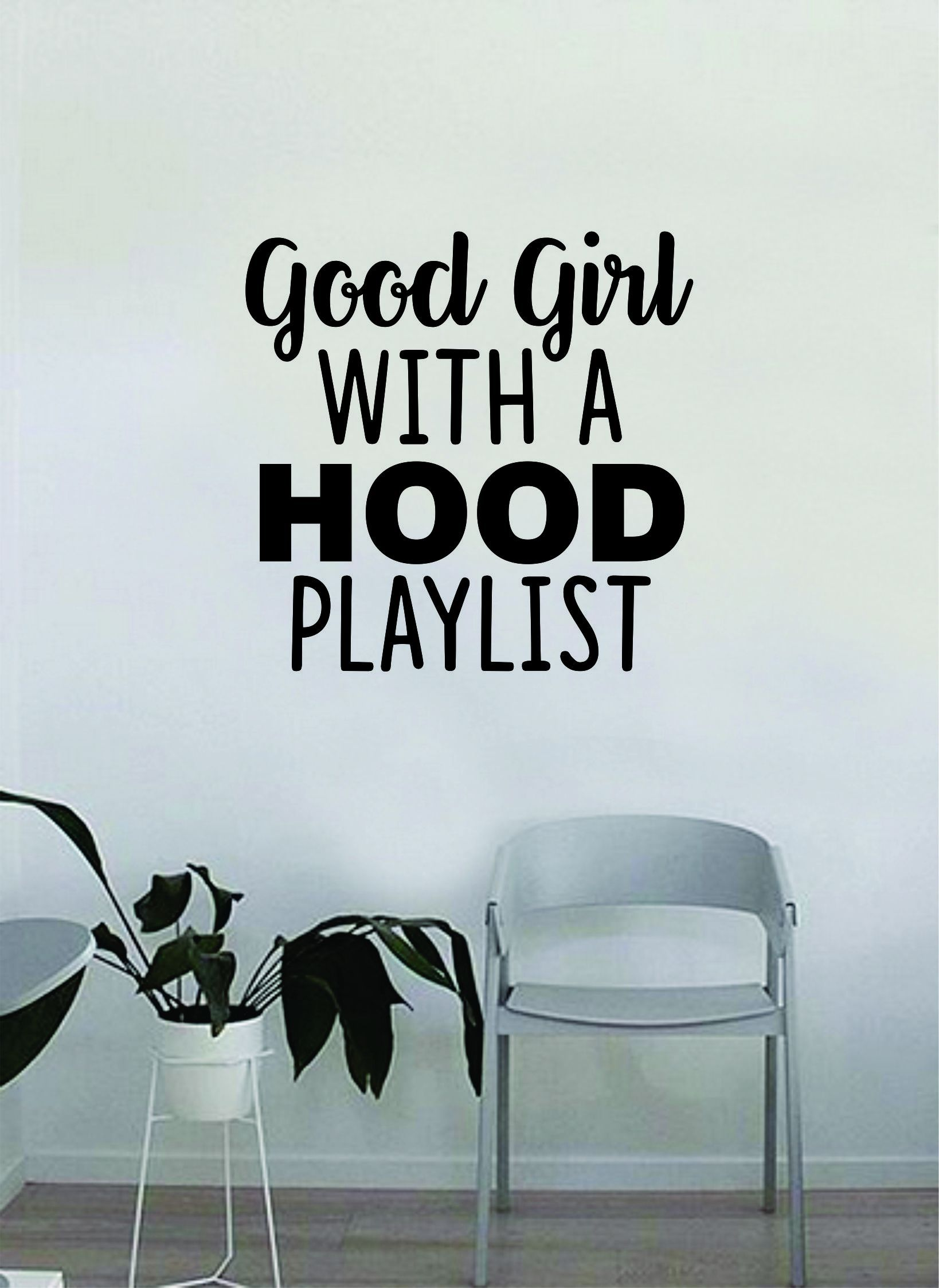 Photo of Good Girl with a Hood Playlist Quote Wall Decal Sticker Bedroom Home Room Art Vinyl Inspirational Decor Funny Teen Music Girls Women Female – vivid blue