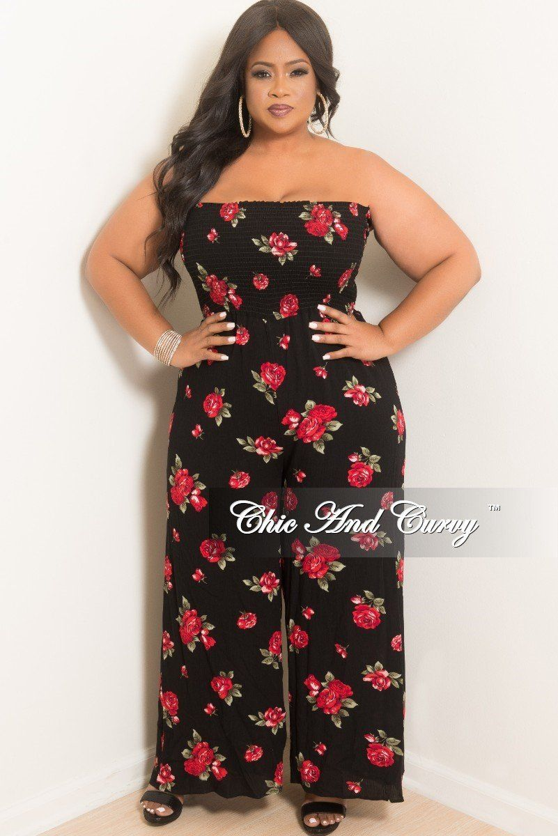 d4938542d854 Plus Size Strapless Loose Fitted Jumpsuit with Attached Tie in Black Floral  – Chic And Curvy