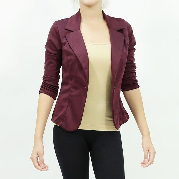 Cinched sleeve ponte one button closure fitted blazer