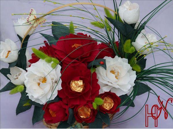 Мастер класс цветы из конфет и гофрированной бумаги
