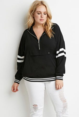 74b2c5b2006b0 Plus Size Varsity-Striped Hooded Pullover