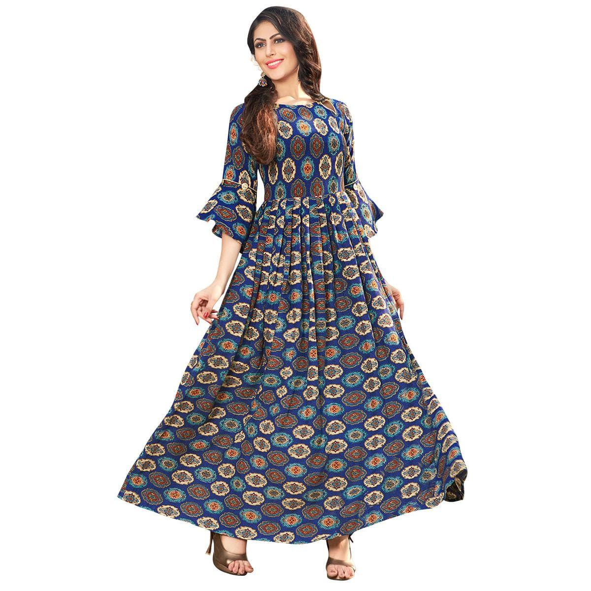 2da3f2acd9 Blooming Blue Colored Printed Partywear Rayon Cotton Long Kurti in ...
