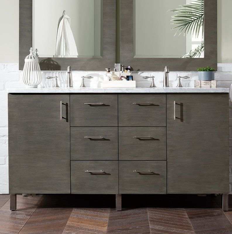 Cordie 60 Double Silver Oak Granite Top Bathroom Vanity Set