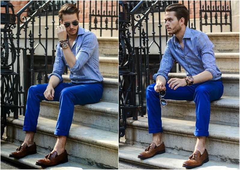 What to wear with blue khakis