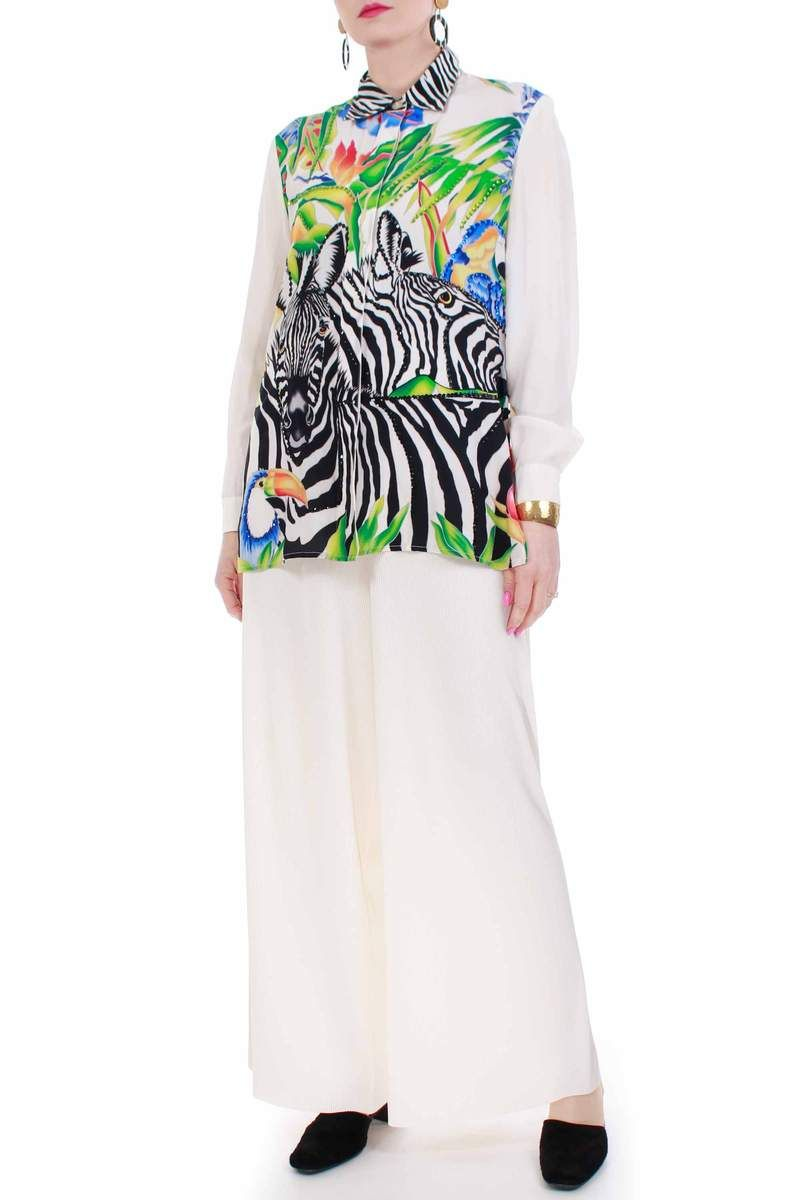 70f5a6101ee7a5 1980 s vintage creamy white semi sheer silk blouse featuring a colorful  tropical Zebras