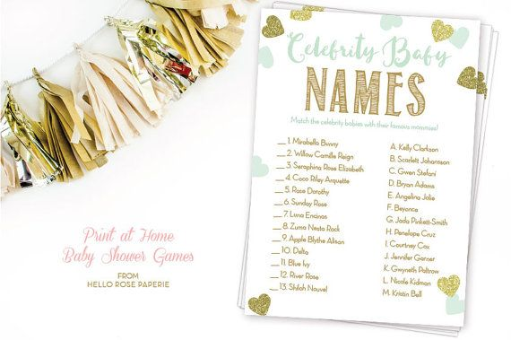 Mint and Gold Baby Shower Game . Celebrity Baby Name Game . Baby ...