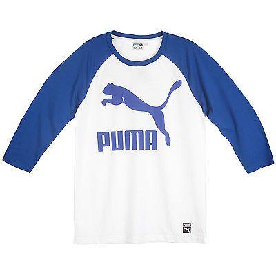 Puma Archive Logo Raglan Tee Mens 570855-02 White Blue Long Sleeve Shirt  Size L