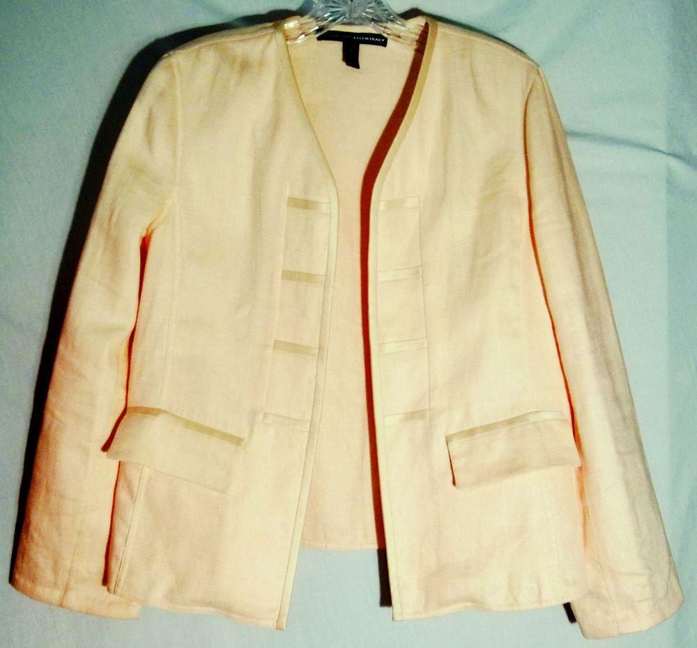 LINDA ALLARD ELLEN TRACY Pale Peach Jacket/Blazer - 100% Linen-100% Silk Trim -8 #LindaAllardEllenTracy #BlazerJacket #jacket #blazer #peach #8 #linen #silk