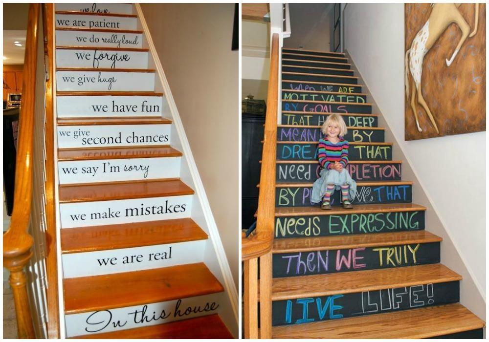 ideas para pintar escaleras me encanta la que utiliza pintura pizarra