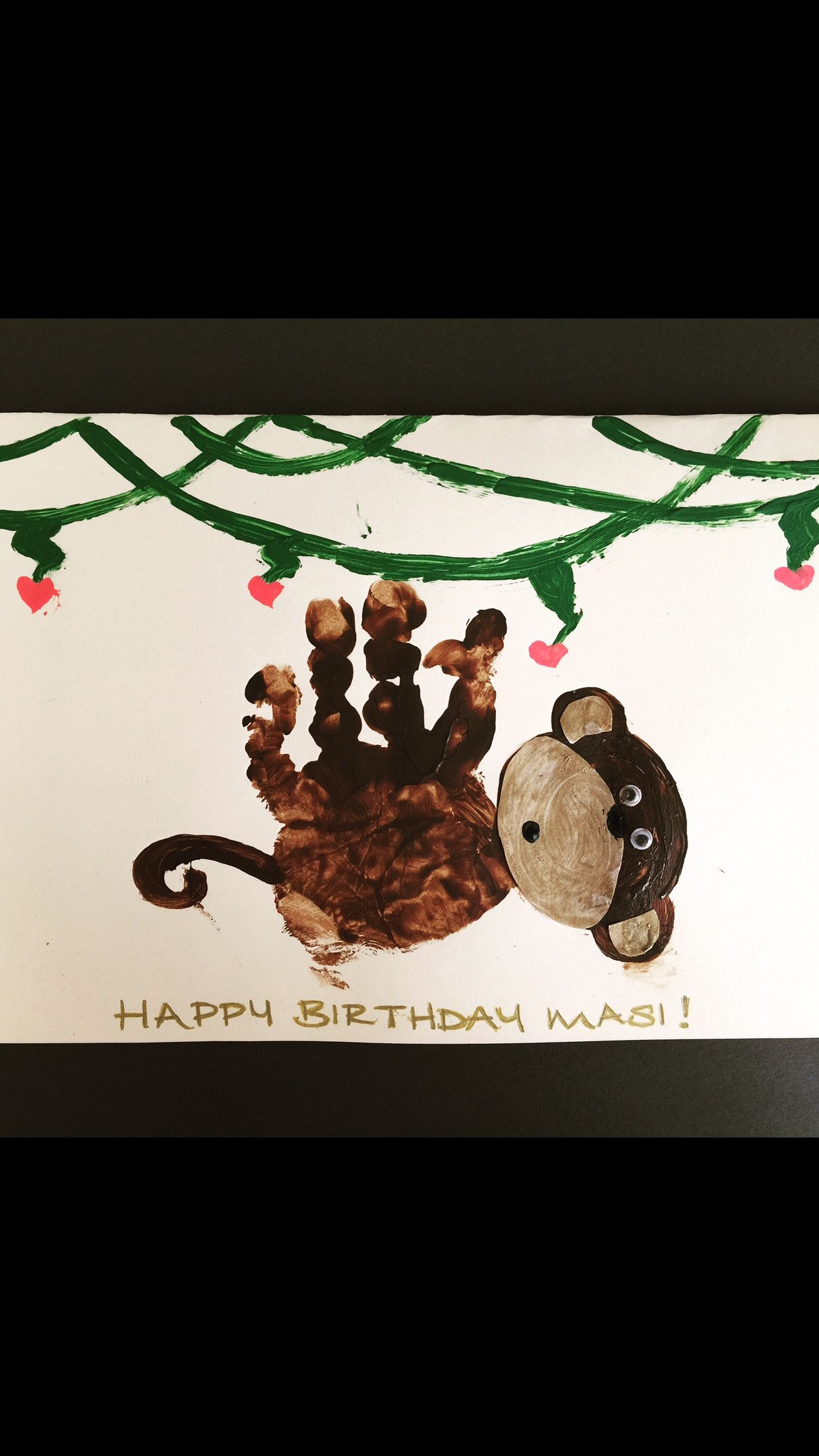 Baby handprint super cute monkey birthday card Crafts. Just hanging ...