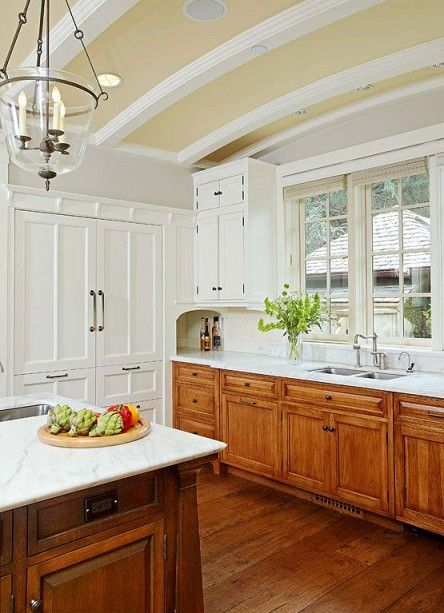 White Cupboards Brown Countertop