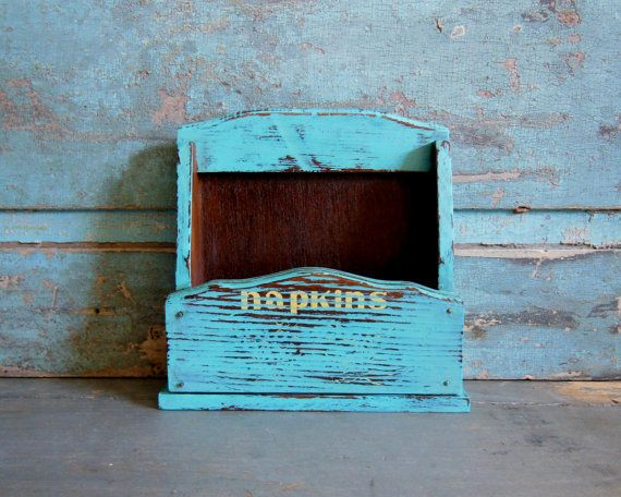 Turquoise Distressed Napkin Holder Wooden by turquoiserollerset