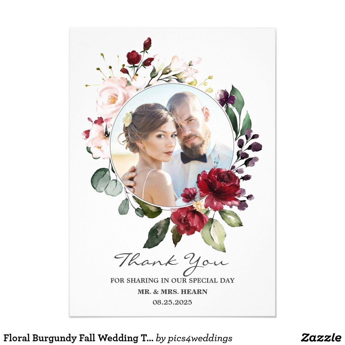 Floral Burgundy Fall Wedding Thank You Photo Card