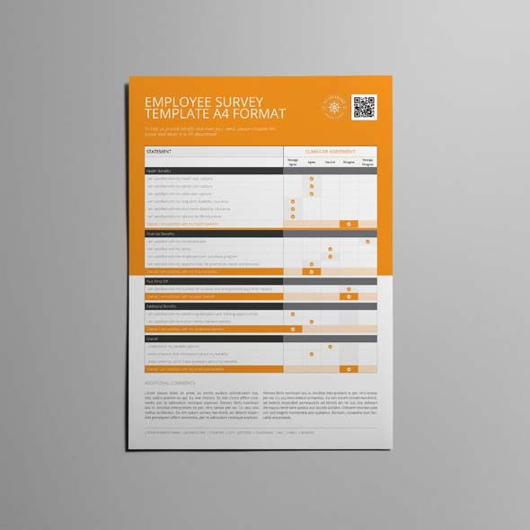 Employee Survey Template A4 Format Cmyk Print Ready Clean
