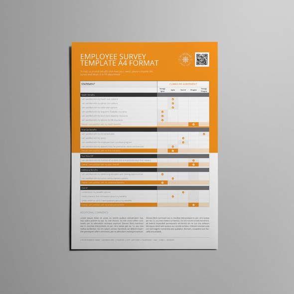 Employee Survey Template A4 Format CMYK \ Print Ready Clean - site survey template