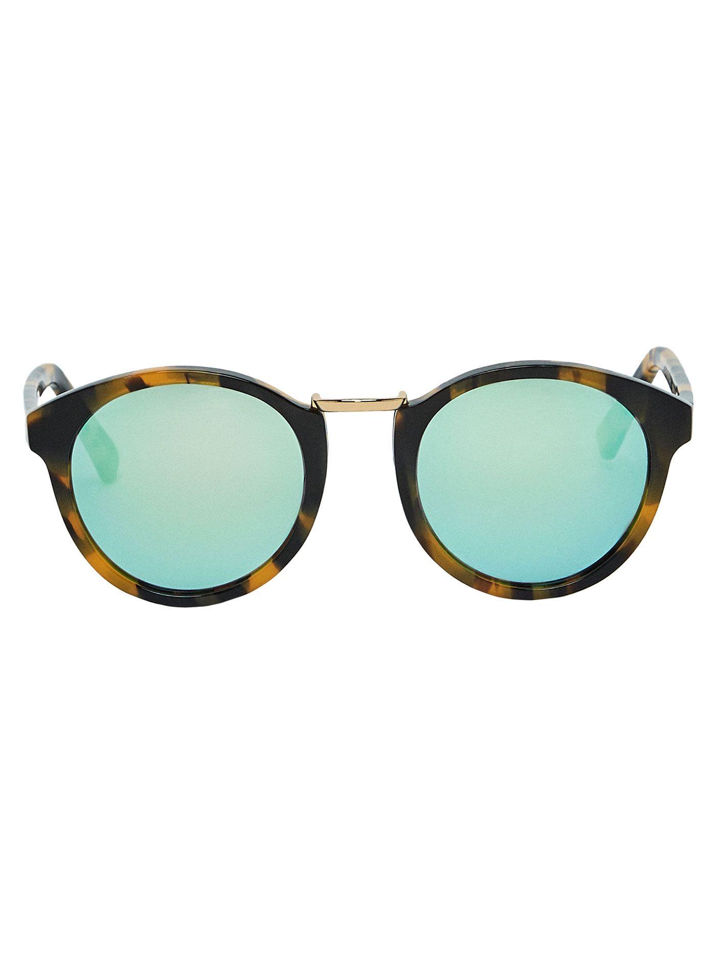 1216196b40 Gafas de sol estilo round con montura de pasta efecto carey, lentes de  espejo con