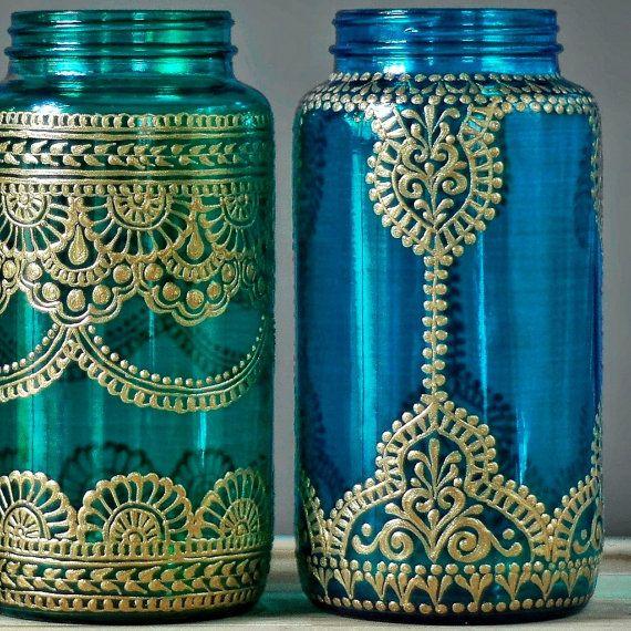 Boho Wedding Decor Henna Wedding Mason Jar Lantern Henna