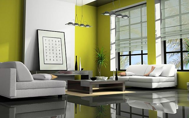 Zen Living Room In Lime Green Minimal White Furniture Super Shiny Black Floor