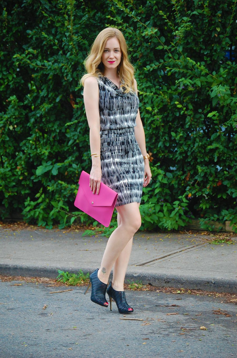 Black and White Dress from Ann Taylor with a pop of pink