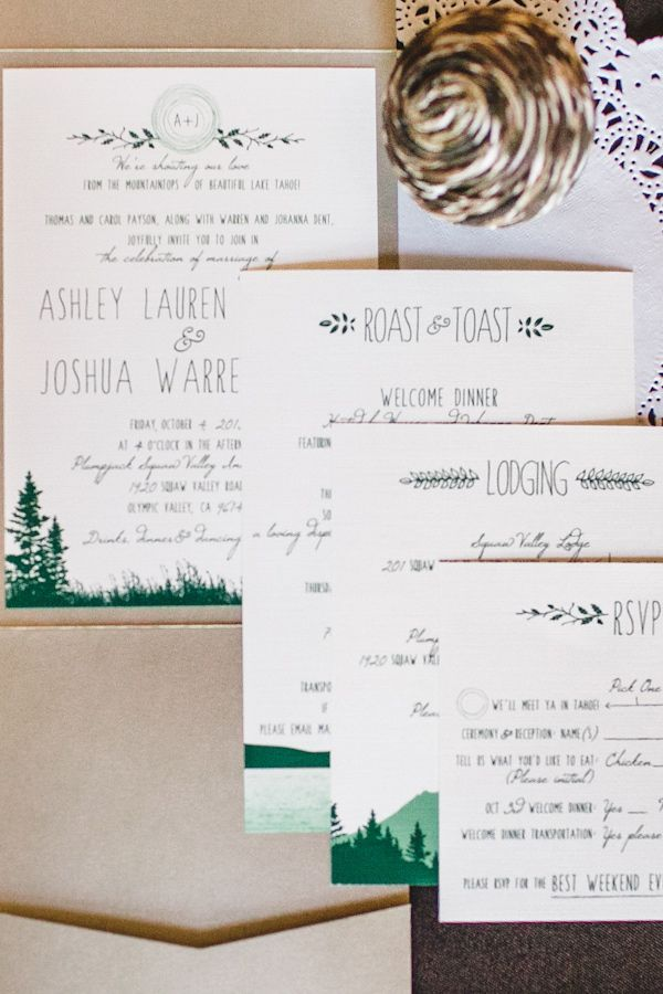 So adorable! Modern wedding invitation suite with green and kraft details #wedding #weddinginvite #woodland #rustic #invitations
