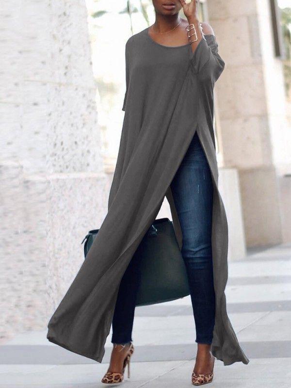 4cba6e027 Stylish Solid High Slit Casual Blouse Maxi Blusa