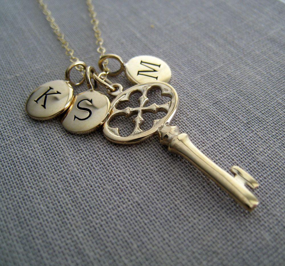 engraved key necklace personalized key necklace golden bronze