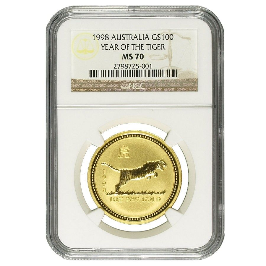 1998 1 Oz 100 Australia Gold Lunar Year Of The Tiger Ngc Ms 70 Year Of The Tiger Lunar Year Ngc