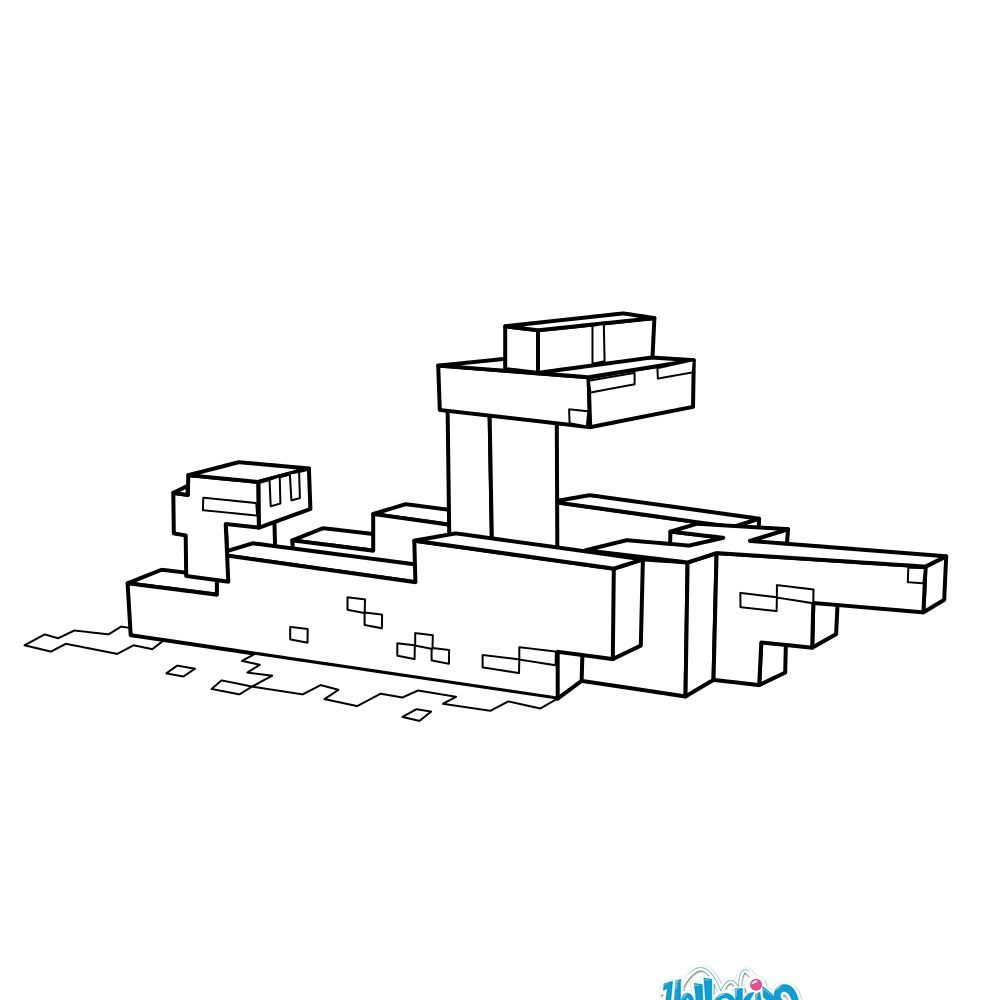 Minecraft Boat Coloring Page More Minecraft And Video Games Content On Hellokids Com Boat Coloring Pages Boat Coloring Coloring Pages