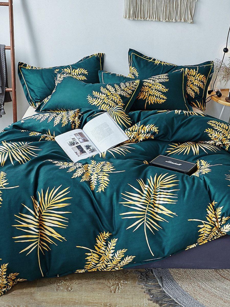 Leaf Print Sheet Set SHEIN(SHEINSIDE) Tropical bedding