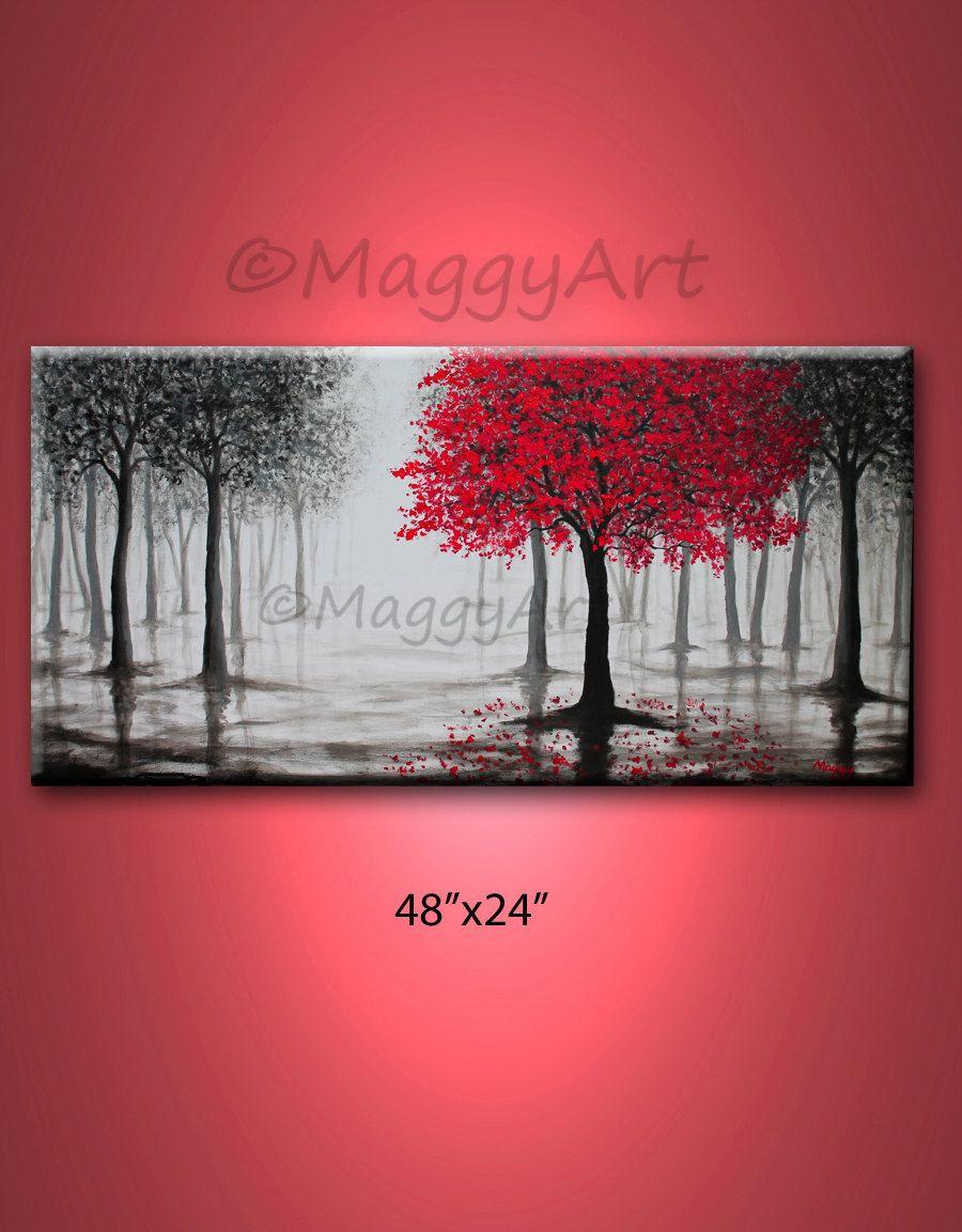 large original paintingwall artred treerainmisty by maggyart