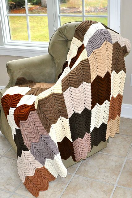 Knitted Zig Zag Afghan Pattern By Columbia Minerva Crochetknit