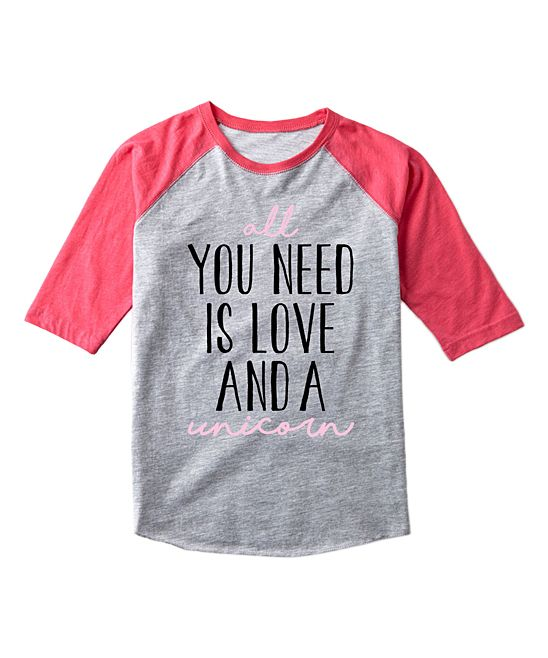 141f1189 Athletic Heather & Hot Pink 'Love And A Unicorn' Raglan Tee - Toddler &  Girls