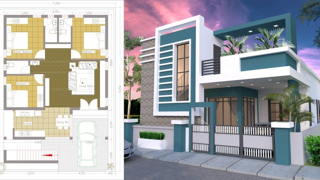 One Story House With 3 Bedroom Plot 36x50 Samphoas Plan Single Floor House Design House Plans House Construction Plan