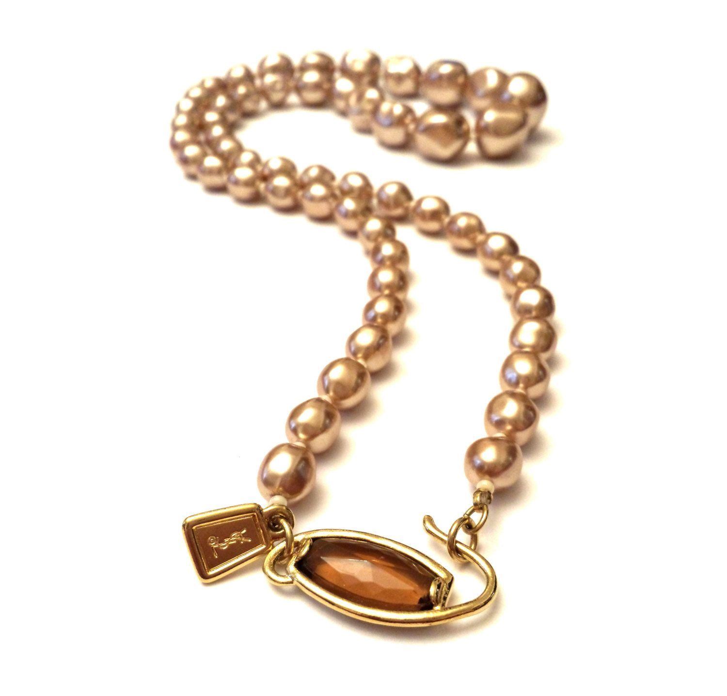 YSL Pearl Necklace Yves Saint Laurent Baroque Pearls Graduated