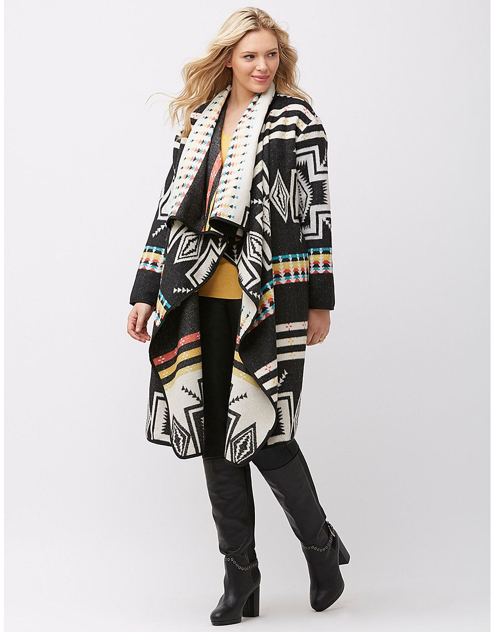 46282a412f Graphic print blanket coat by Lane Bryant