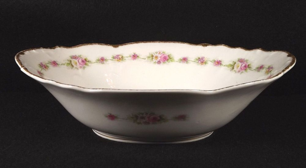 Limoges Elite Works Oval Bowl Pink Roses Brushed Gold Trim France Porcelain #LImogeselite #pinkrosesFrance